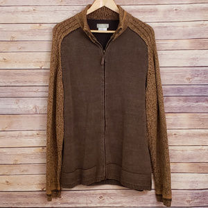 Territory Ahead Brown Zip Knit Cardigan Sweater L